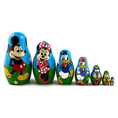 Matryoshka Babushka Russian Nesting Wooden Stacking Doll Characters Mickey Mouse Donald Duck 7 Pcs: Toys & Games