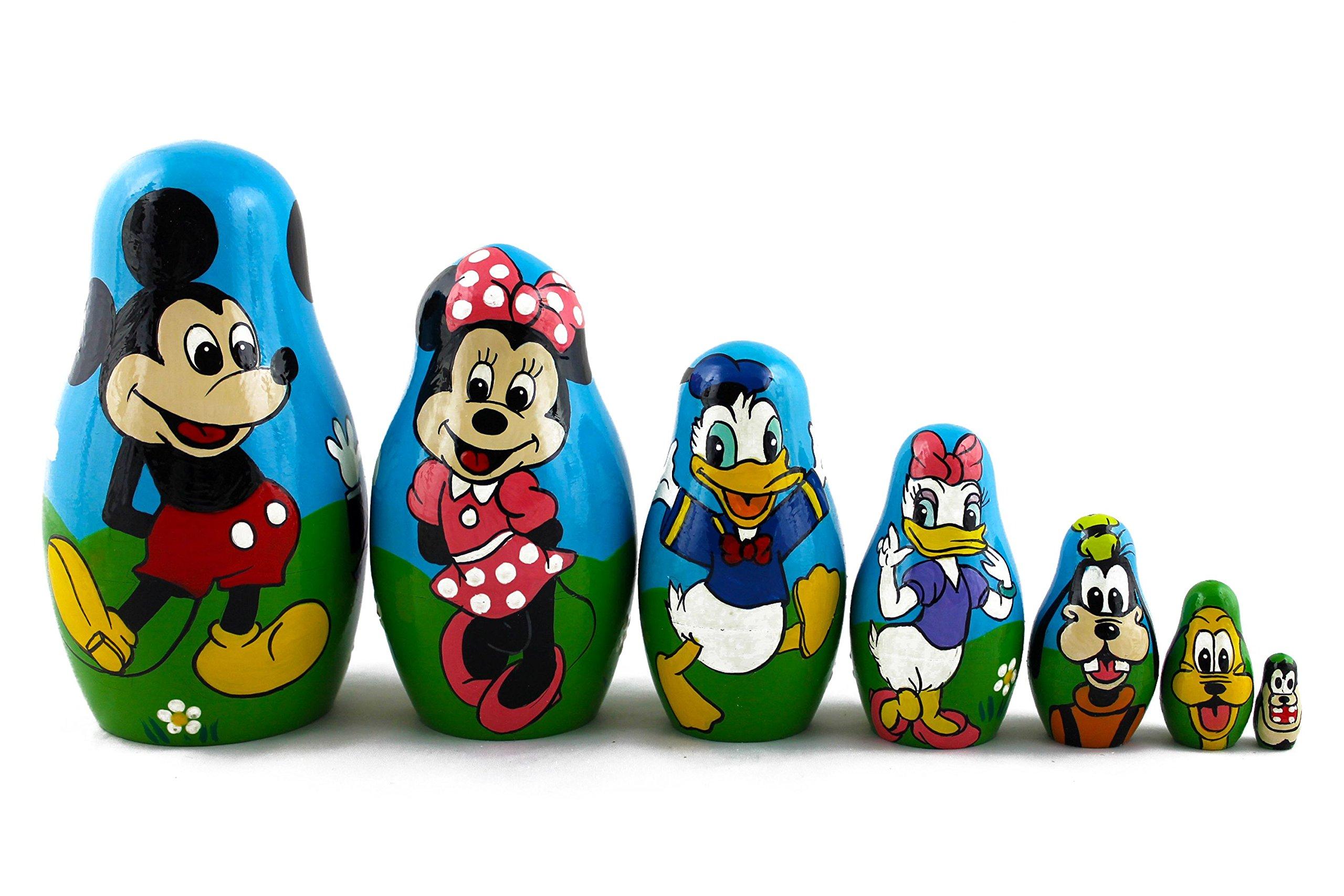 Matryoshka Babushka Russian Nesting Wooden Stacking Doll Characters Mickey Mouse Donald Duck 7 Pcs