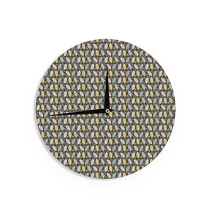 Kess InHouse Mayacoa Studio Pine Cone Yellow Green Wall Clock 12