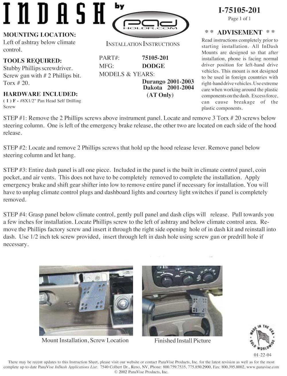 Padholdr Ram Series Spring Loaded Holder for 2001-2004 Dodge Dakota P//U AT and Durango AT Pad Holdr PHR75105-201
