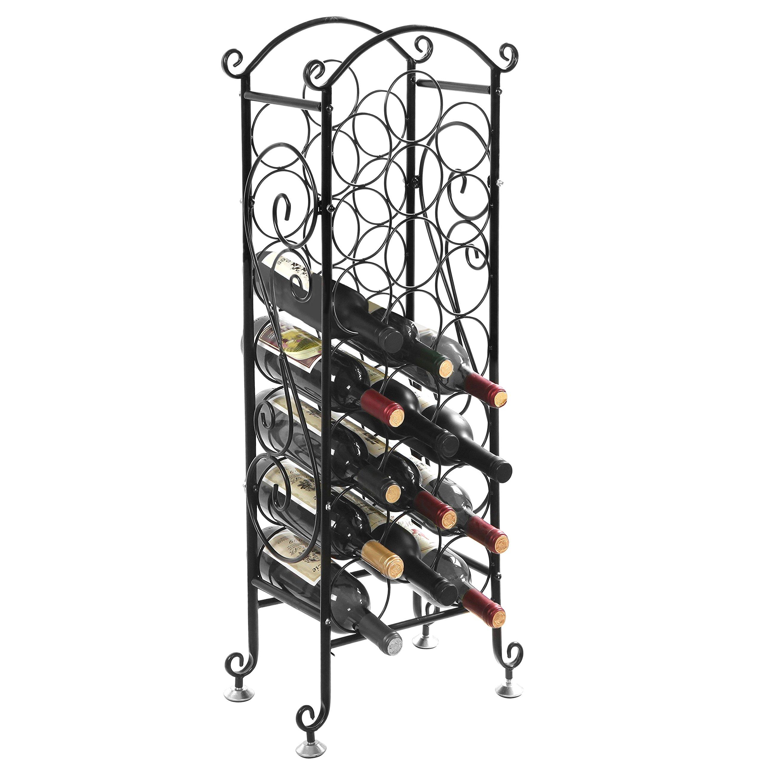 MyGift Wine Bottle Storage Rack / Vintage Wine Holder, Fits 21 Bottles, Black