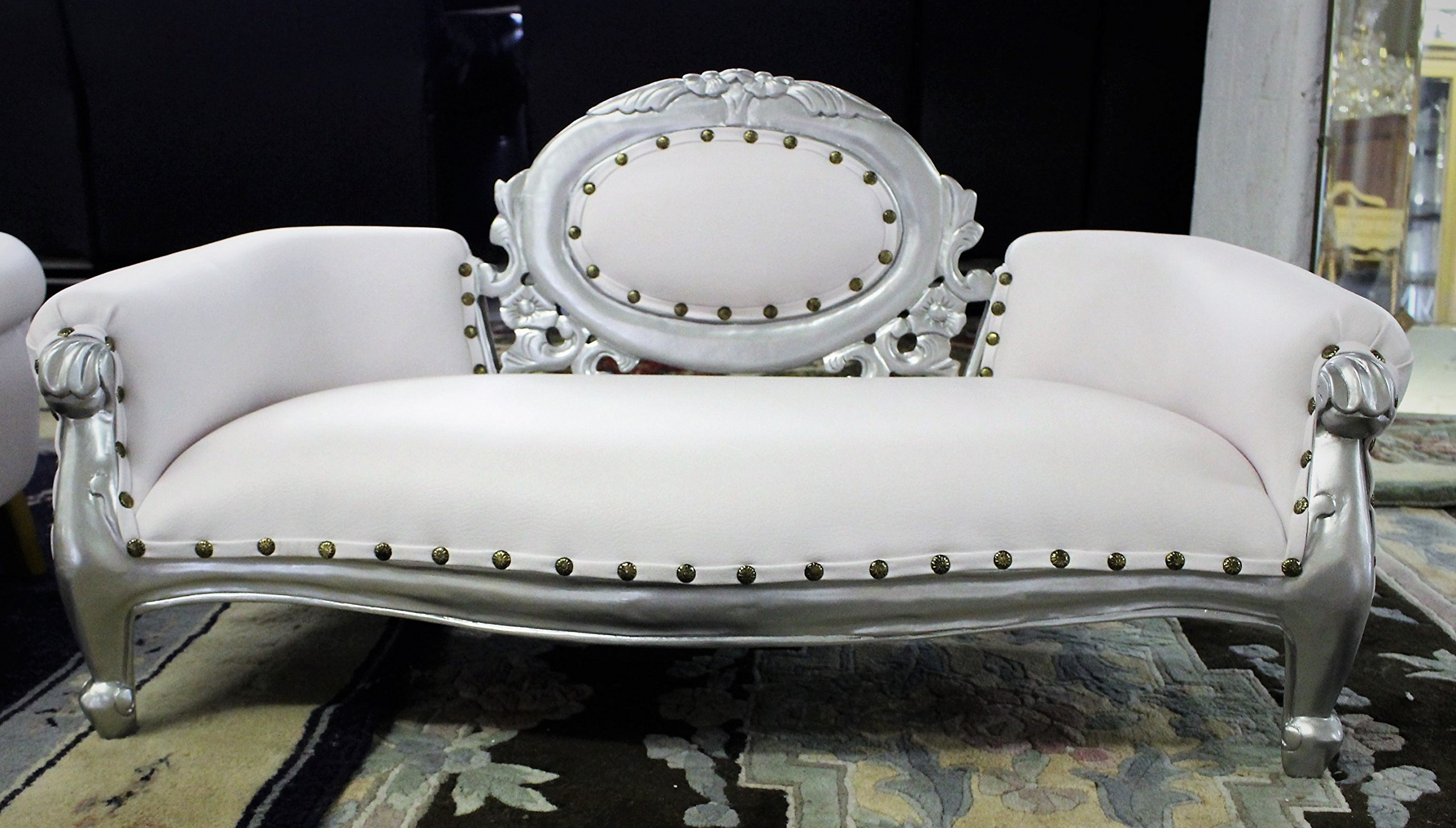GORGEOUS!!! White Silver Mahogany Mini Baby Chaise Lounge For Kids Parties or Pets Photo Props