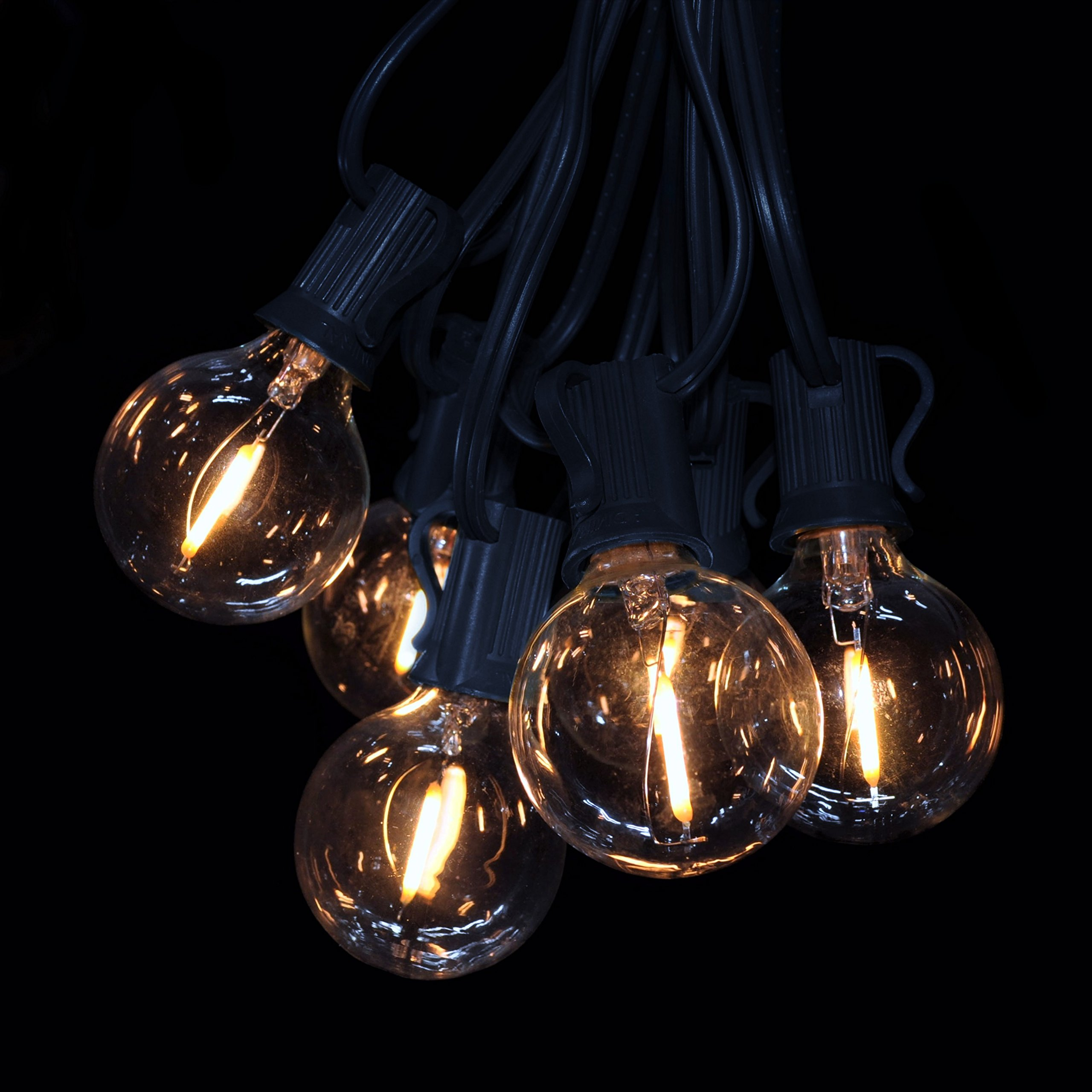 Hometown Evolution, Inc. 100 Foot G40 LED Filament String Lights with .6 Watt Clear Bulbs and Black Wire by Hometown Evolution, Inc.