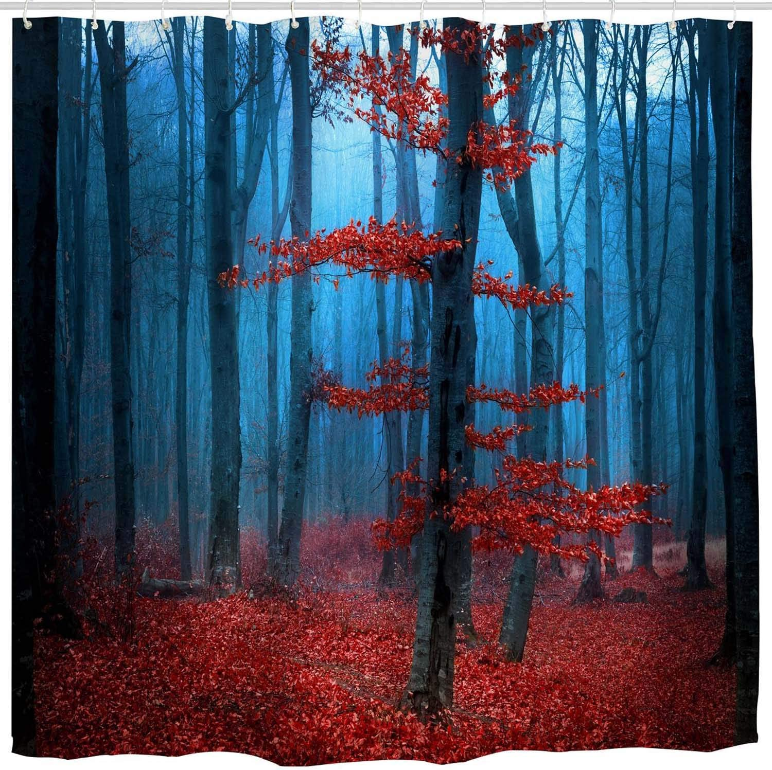 BROSHAN Mystic Forest Shower Curtains, Country Fall Foggy Woodland Scene Nature Bath Curtain, Farmhouse Waterproof Fabric Bathroom Decor Set with Hooks,72 x 72 inch, Blue