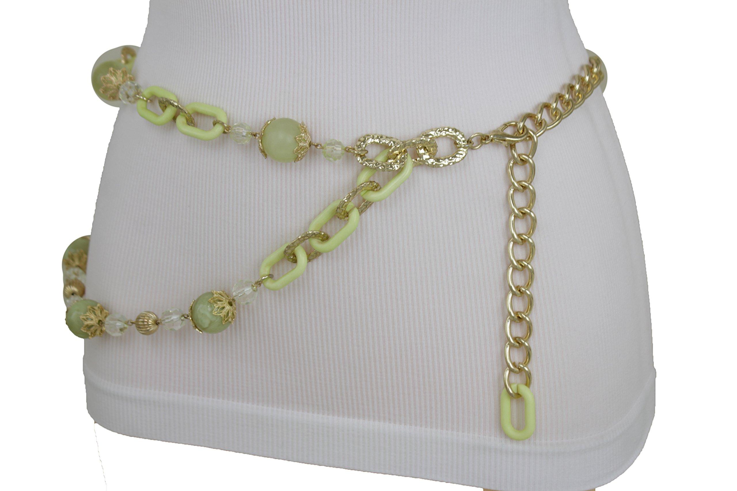 TFJ Women Fashion Metal Belt Hip High Waist Silver Chain Turquoise Blue Plus M L XL