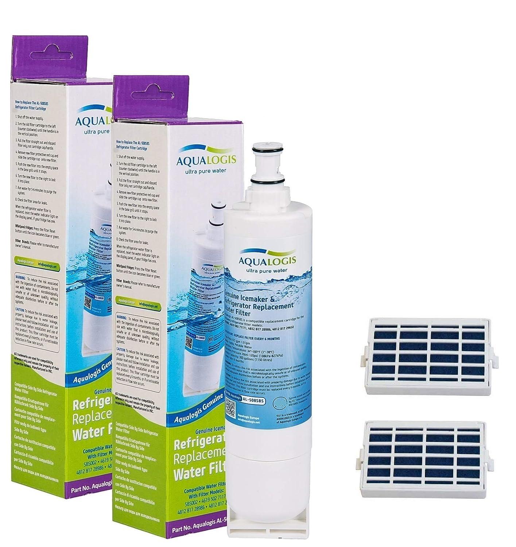 2x Aqualogis Compatible Cartucho de filtro de agua para nevera ...