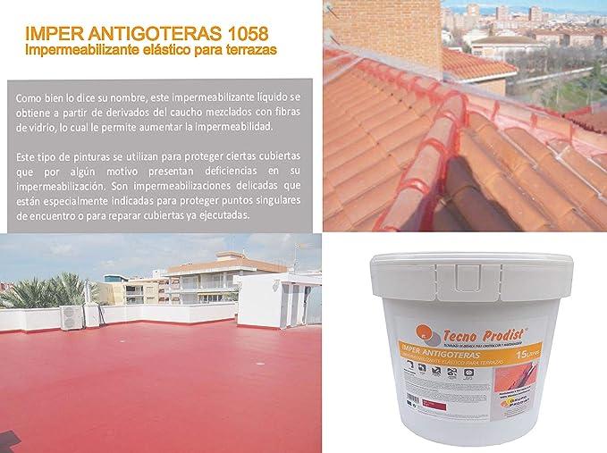 BLANCO IMPER FIBRA de Tecno Prodist Pintura Impermeabilizante el/ástica para Terrazas con Fibras Incorporadas A Rodillo o brocha, disponible en color rojo o blanco 5 Kg Buena Calidad -