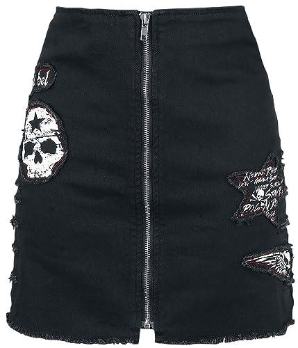 Rock Rebel by EMP Skull Denim Skirt Falda Negro M