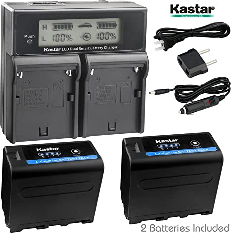 Kastar USB Dual Charger for Sony NP-F990 NP-F975 NP-F970 NP-F960 NP-F950 NP-F930 NP-F770 NP-F750 NP-F730 NP-F570 NP-F550 NP-F530 NP-F330 Battery Sony Camcorder and LED Video Light