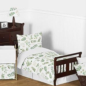 Sweet Jojo Designs Floral Leaf Girl Toddler Kid Childrens Comforter Bedding Set - 5 Pieces Comforter, Sham and Sheets - Green and White Boho Watercolor Botanical Woodland Tropical Garden