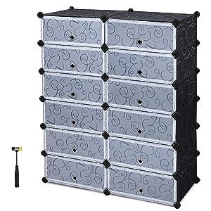 SEVVY Shoe Rack Cabinet. DIY Plastic Shoe Portable Storage Organizer. 12 Cube Shoe Wardrobe. (Black)