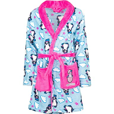 Girls Hatchimals Shimmer and Shine Dressing Gown Size 3 4 5 6 7 8 Years Character Fleece Bathrobe Blue Cloud, 5-6 Years
