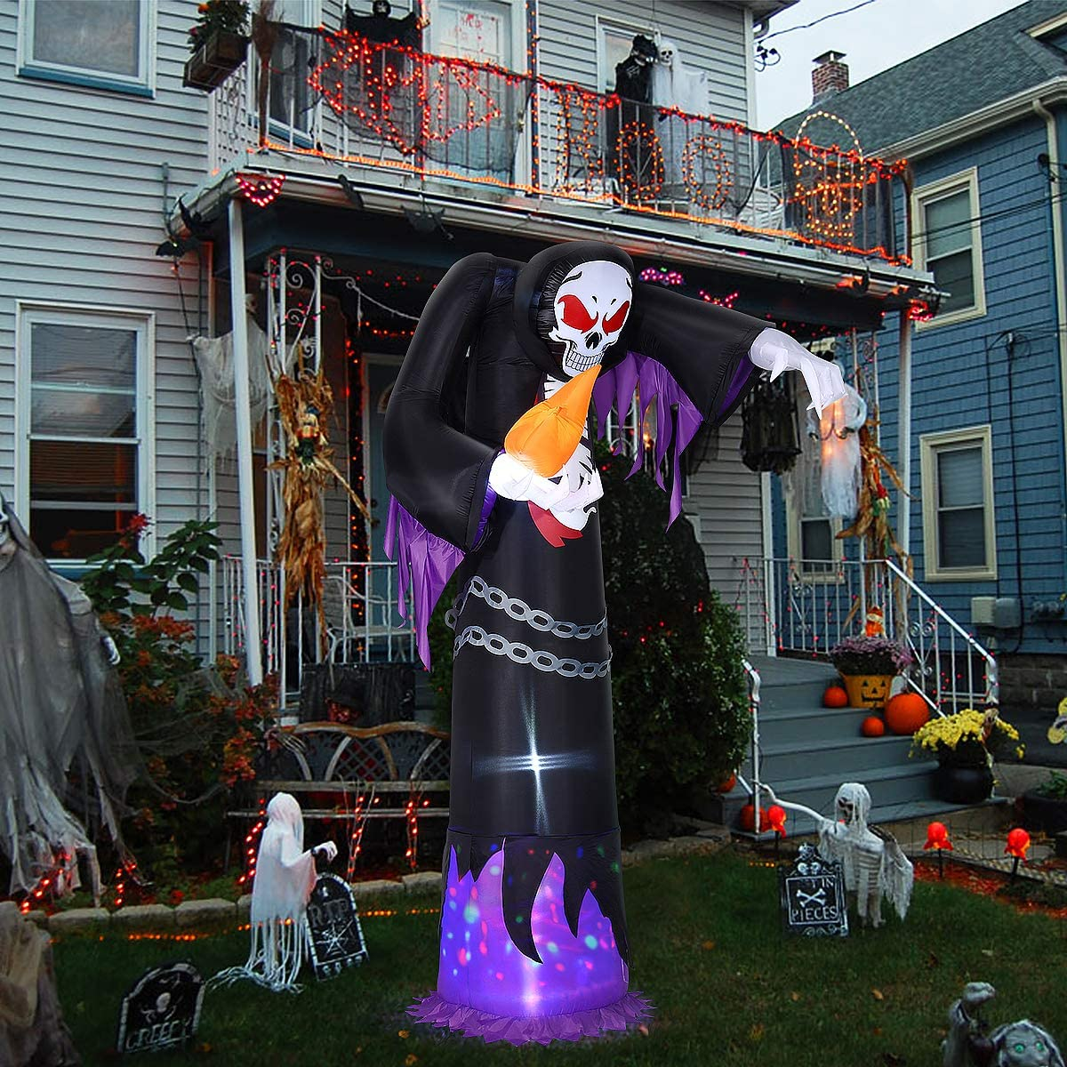 Blow Up LED Lights 10FT Halloween Inflatable Grim Reaper Model for Outdoor Garden Yard Lawn Party Holiday Decoration