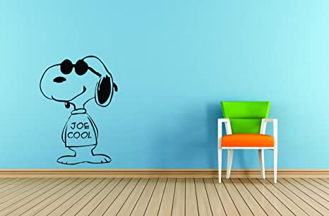 E Vinyl Bambini Cartoon Snoopy Wall Charlie Art Decalpeanuts Brown Nwm8vnO0