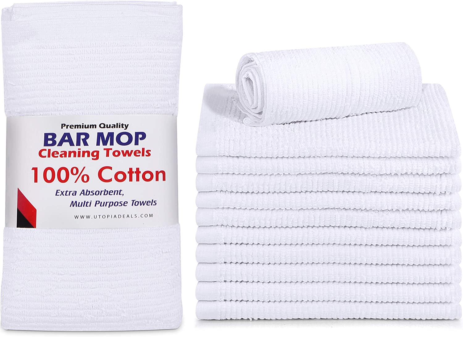 Utopia Towels Ribbed Bar Mop Towels,16 x 19 Inches, 100% Cotton Super Absorbent White Bar Towels, Multi-Purpose Cleaning Towels for Home and Kitchen Bars, (Pack of 12)