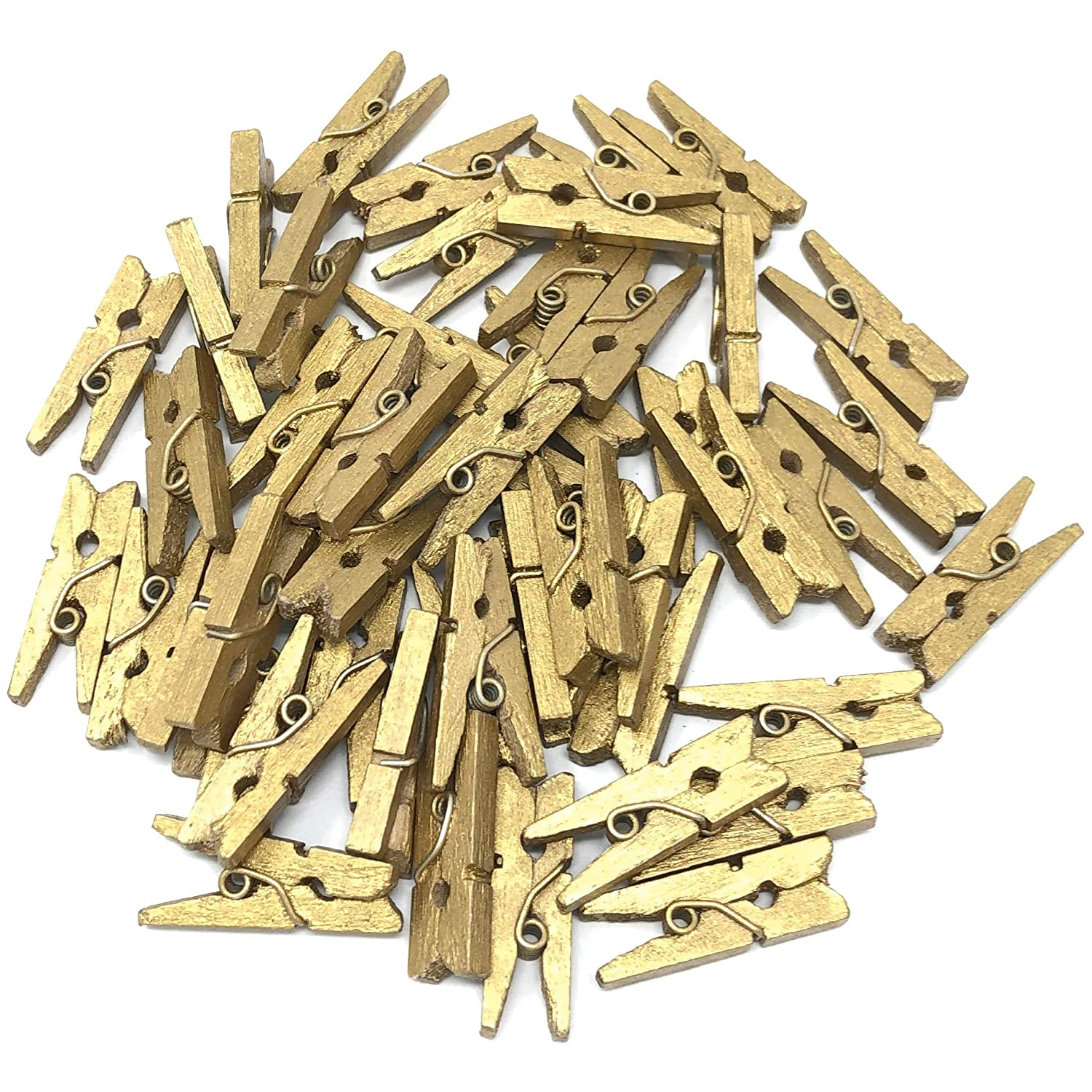 25mm Mini Gold Wooden Clothes Peg Craft For Vintage Wedding - Pack of 100 Wedding Touches