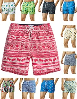 19650035a86 MaaMgic Mens Quick Dry Printed Short Swim Trunks with Mesh Lining Swimwear  Bathing Suits
