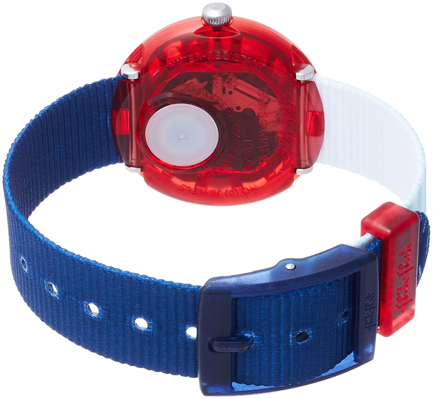 Amazon.com: Flik Flak Matrose Blue Red Fabric Strap Kids Watch FBNP090: Watches