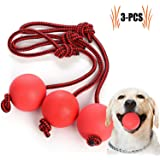 Legendog Dog Toy, 3 Pcs Dog Toy Ball with Rope Elastic Solid Rubber Chew Toy Dog Tug Toy Rope Ball for Small Dogs Puppy