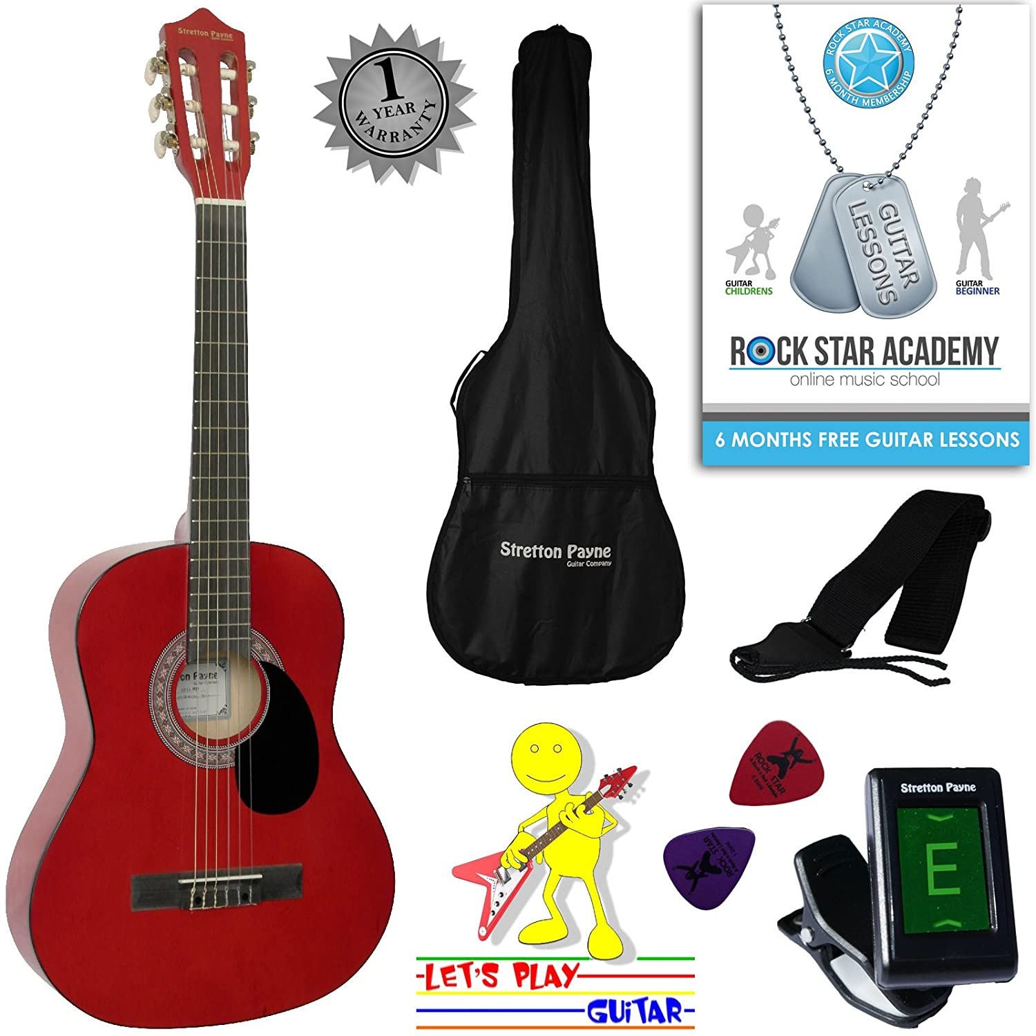 Acoustic Guitar Package 3/4 Sized (36' inch) Classical Nylon String Childs Guitar Pack Pink Stretton Payne SP34