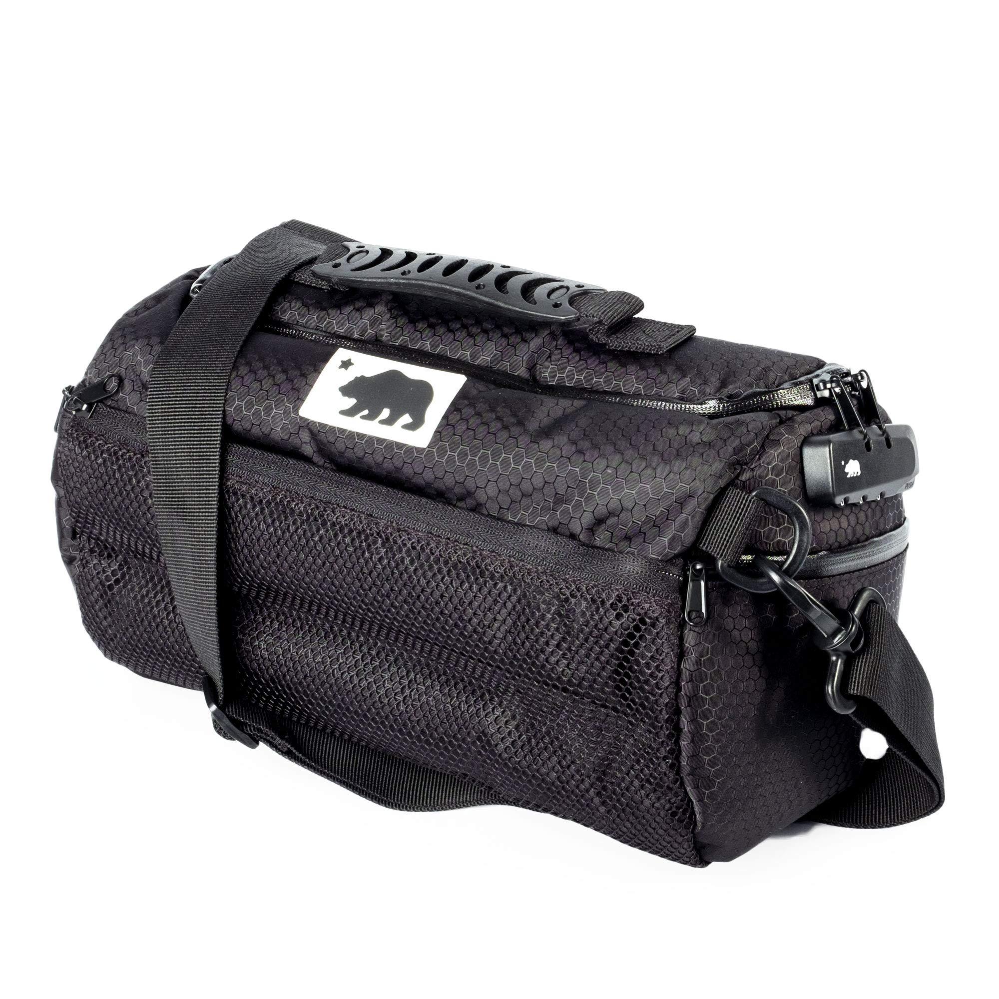 Cali Crusher 100% Smell Proof Duffle Bag w/Combo Lock (Black, 12in)