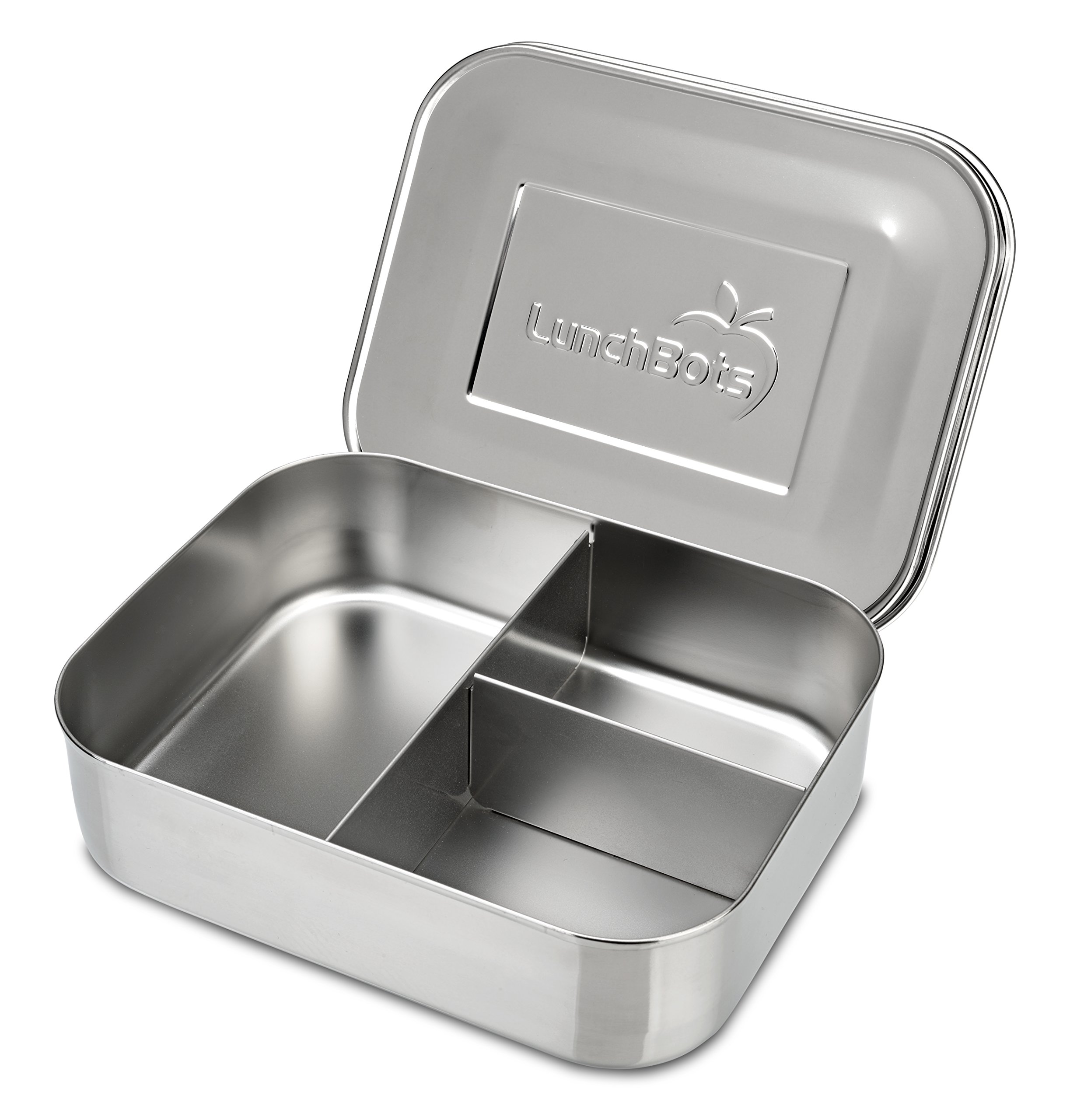LunchBots Medium Trio II Snack Container - Divided Stainless Steel Food Container - Three Sections for Snacks On the Go - Eco-Friendly, Dishwasher Safe, BPA-Free - Stainless Lid - All Stainless by LunchBots