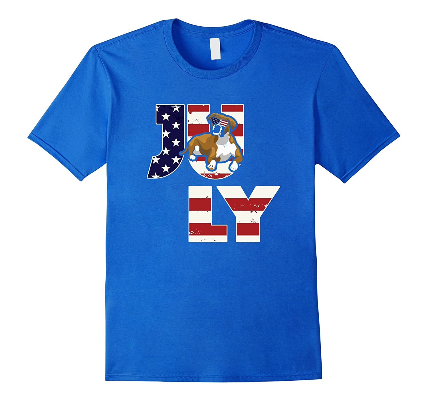 4th of July – American Flag Boxer Dog T-Shirt