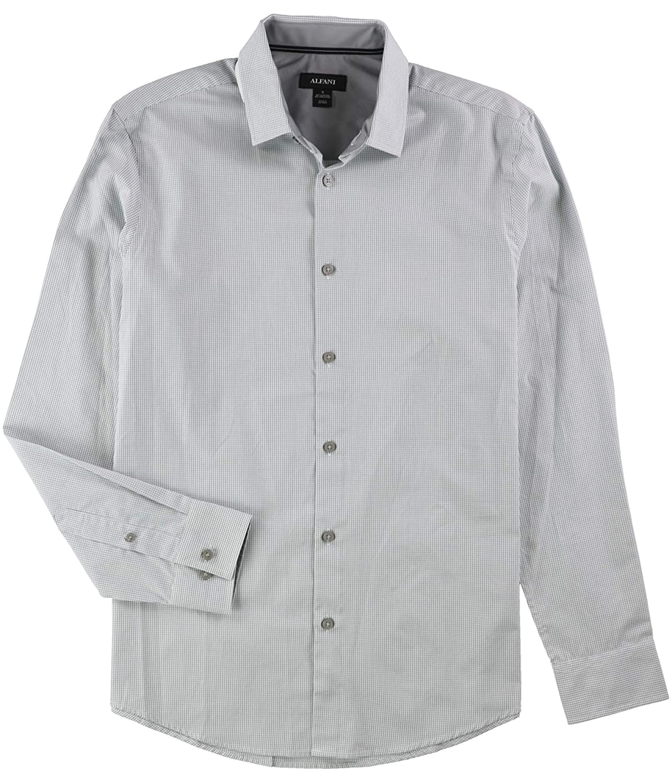 Alfani Gray Mens Gingham Check Button Down Shirt