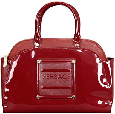 e9933330ab Versace Jeans Red Patent Faux Leather Bowling Handbag: Amazon.co.uk:  Clothing