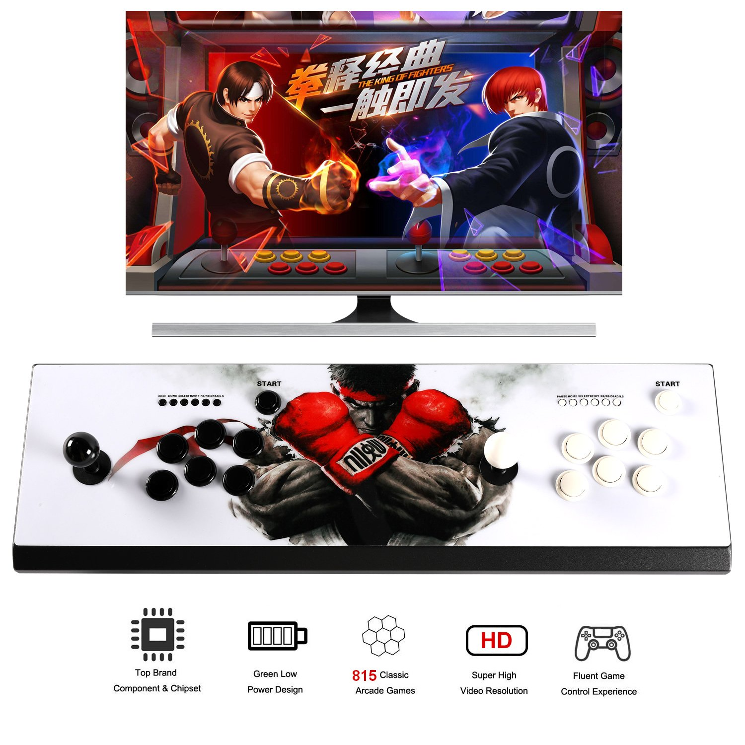 Easyget Arcade Game Console Ultra Slim Metal Double Stick - 815 Classic Video Games Machine - 2 Players Pandora's Box 4S Plus Arcade Joystick for Computer / Projector / Screen /TV HDMI VGA Output