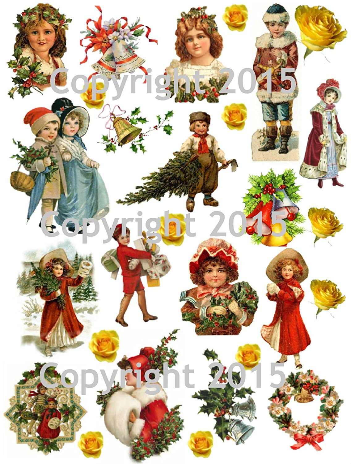 Victorian Vintage Christmas #103 Printed Collage Sheet 8.5 x 11 Paper Moon Media