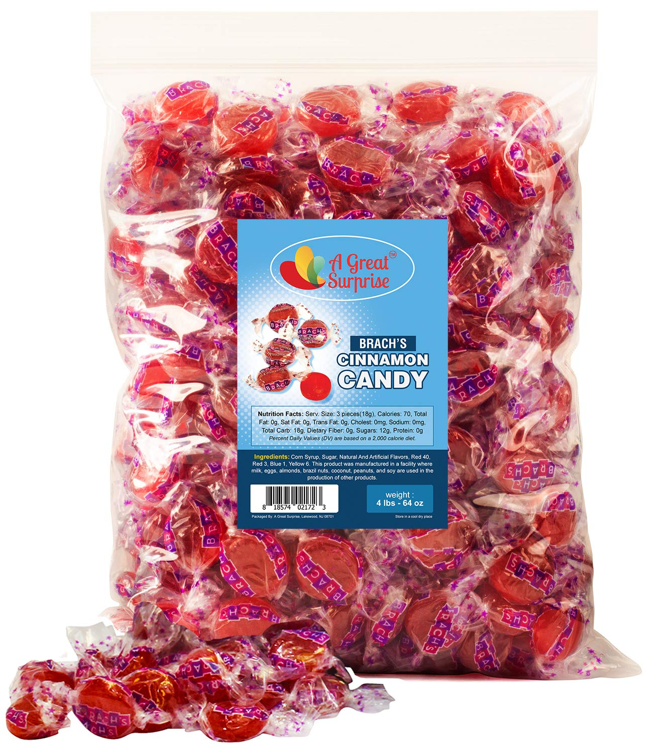 Cinnamon Hard Candy Individually Wrapped - Cinnamon Discs - Red Candy - Bulk Candy 4 LBS by A Great Surprise