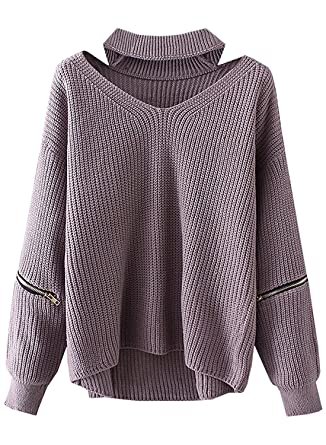 3e538df110af9 Angelia Daugh Women s Solid Choker V Neck Long Sleeve Loose Knit Sweater  Jumper Top Beige