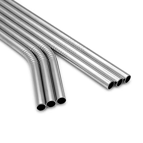 Pajitas de Acero Inoxidable STRAWGRACE con Estuche de Madera para Llevar – Set de 3 Pajitas de Metal Rectas + 3 Pajitas de Metal con Doblez de 215 x 8 ...