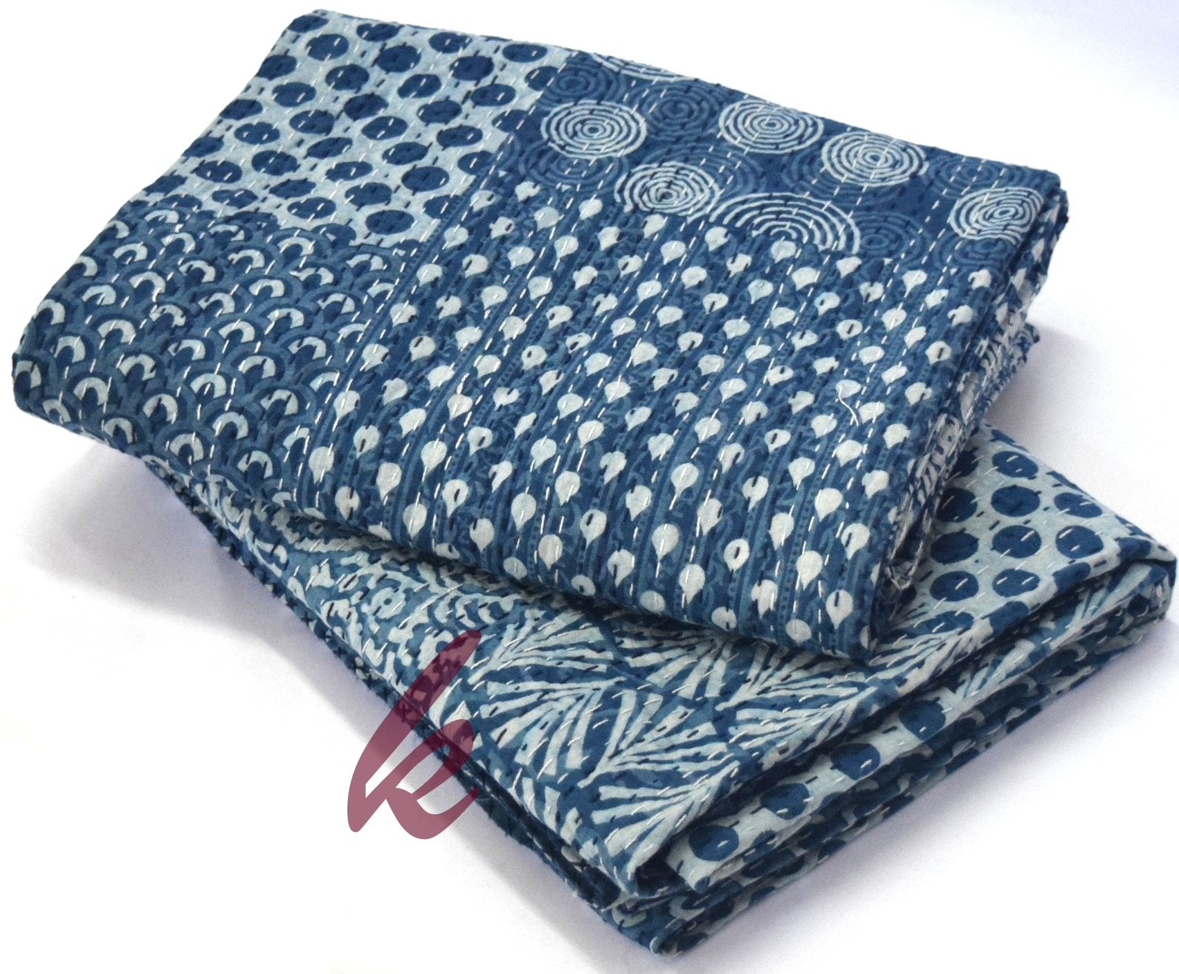 Hand Block Print Bedcover Twin Size Blue Indigo Kantha Quilt Indigo Print Bedcover Indian Kantha Quilt Block Print Bedcover Patchwork Kantha Bedcover kusum creation by kusum creation (Image #1)