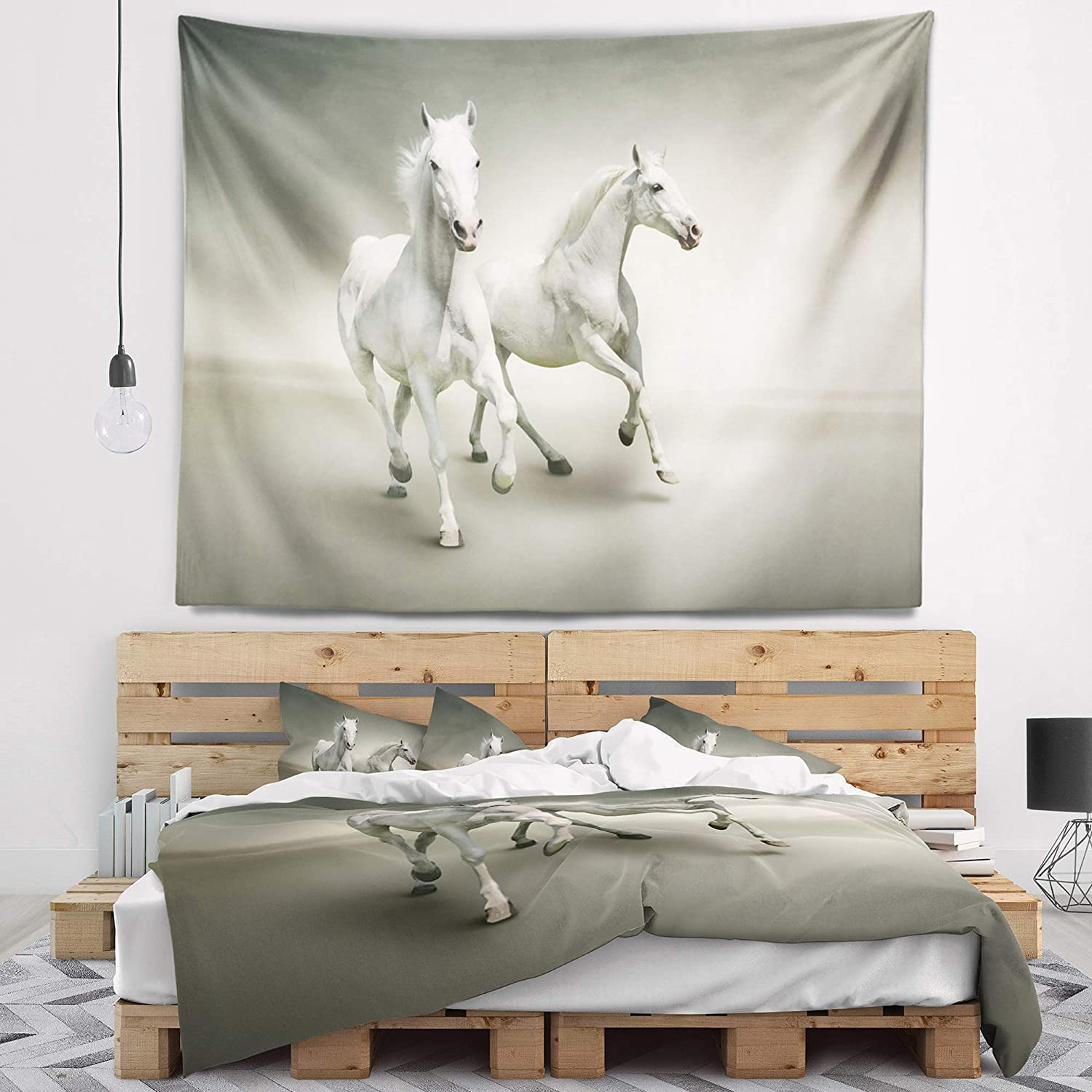 60 in Large Designart TAP13476-60-50 Fast Moving White Horses Animal Blanket D/écor Art for Home and Office Wall Tapestry x 50 in