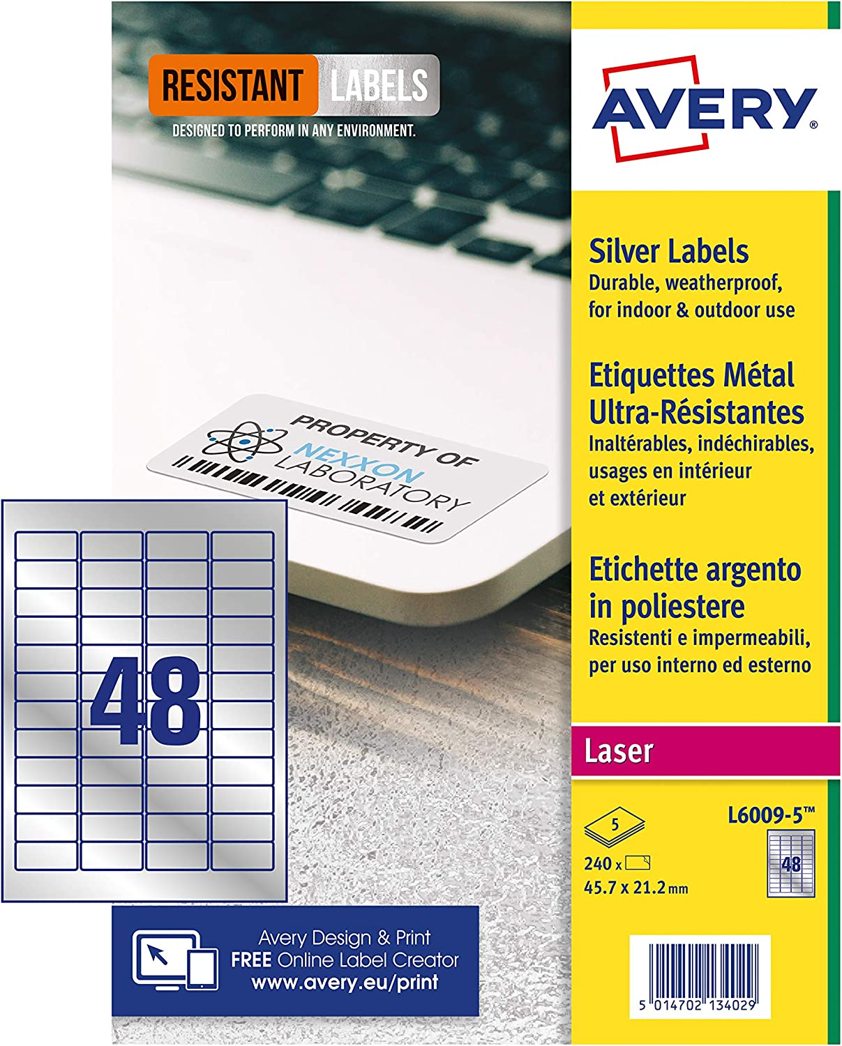 Avery L6009-5 Resistant Labels, Silver (A4 Sheet of 46 x 21 mm, 240 Labels)