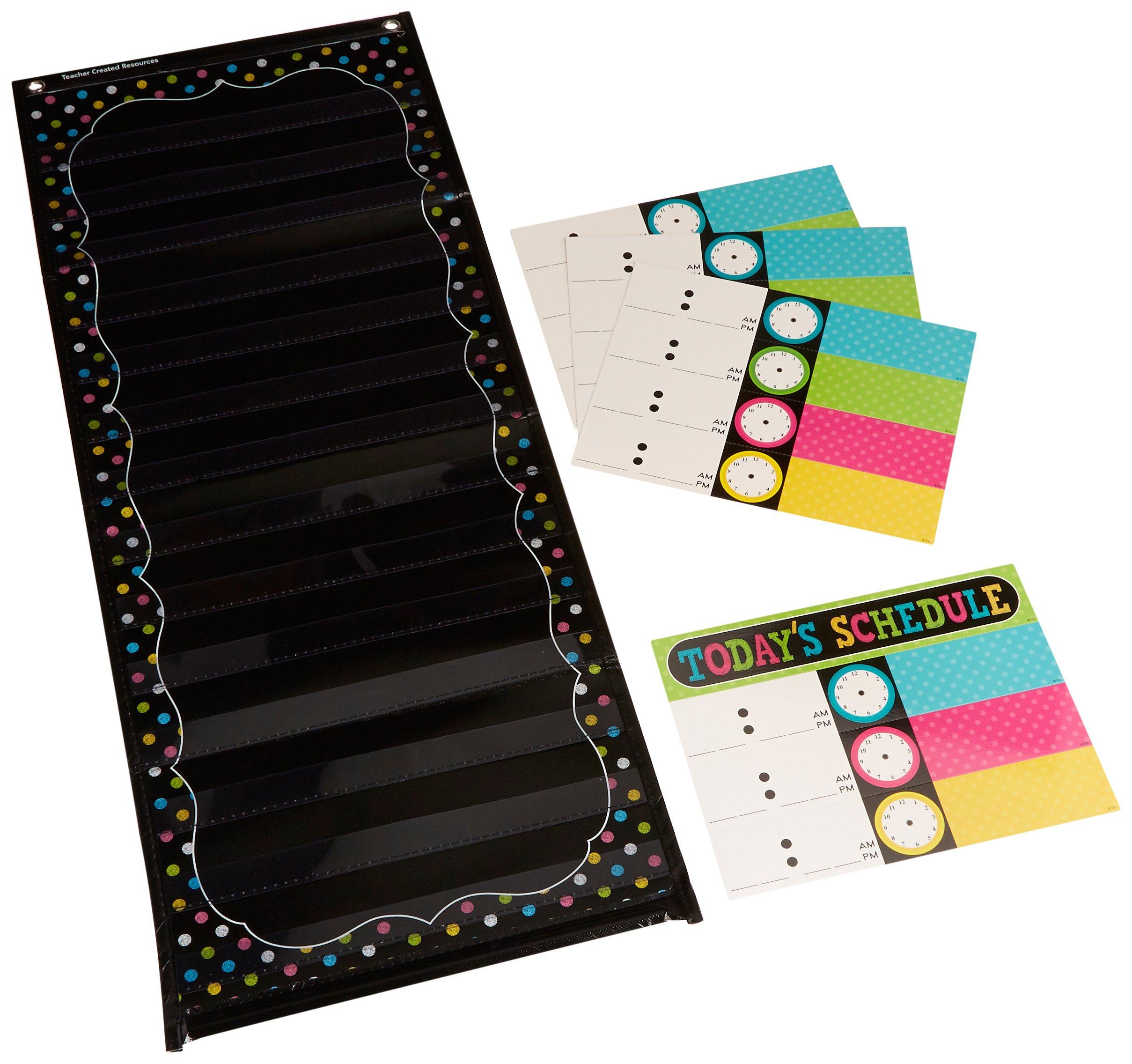 Teacher Created Resources 20752Chalkboard Brights 14 Pocket Daily Schedule Pocket Chart