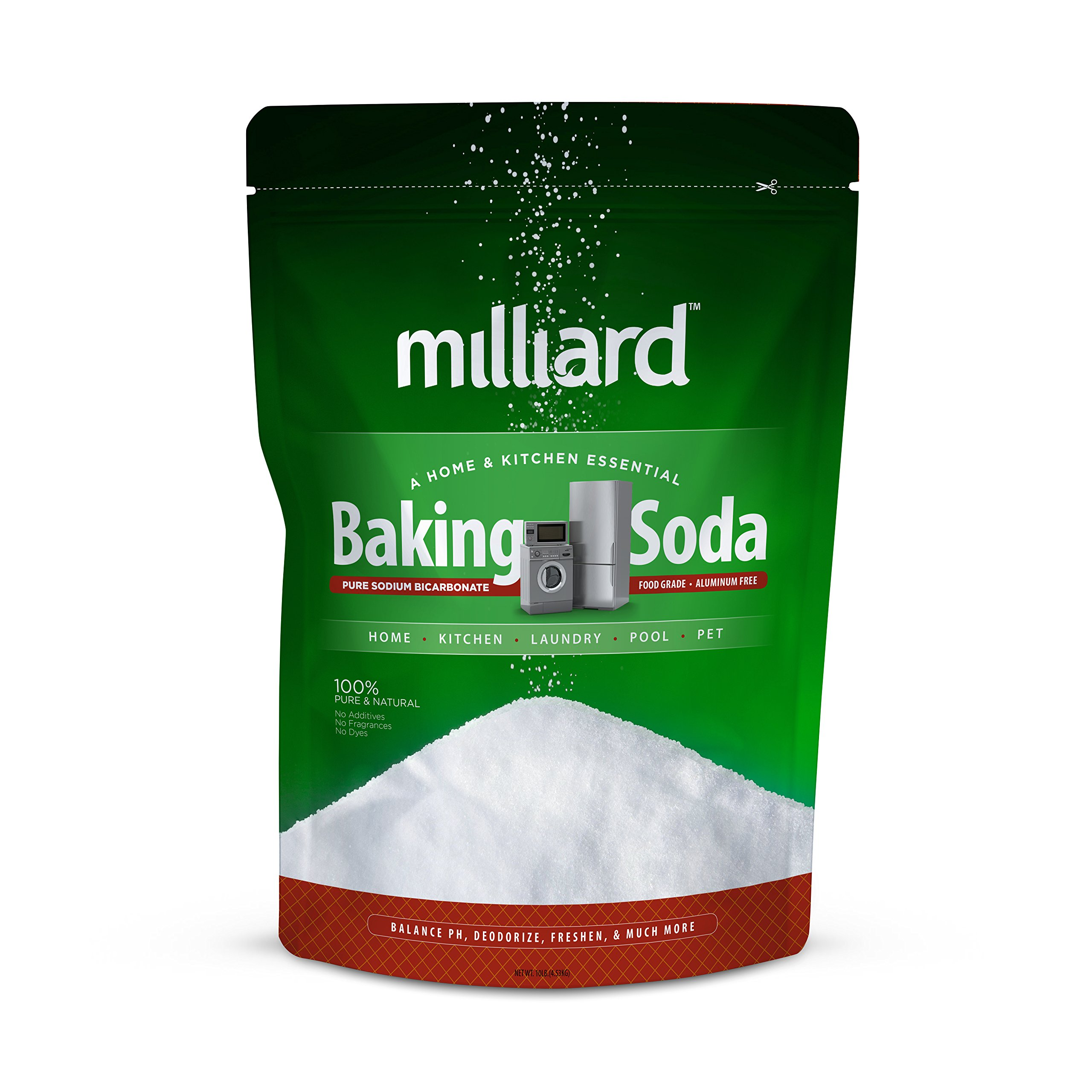 Milliard 10lbs Baking Soda/Sodium Bicarbonate USP - 10 Pound Bulk Resealable Bag