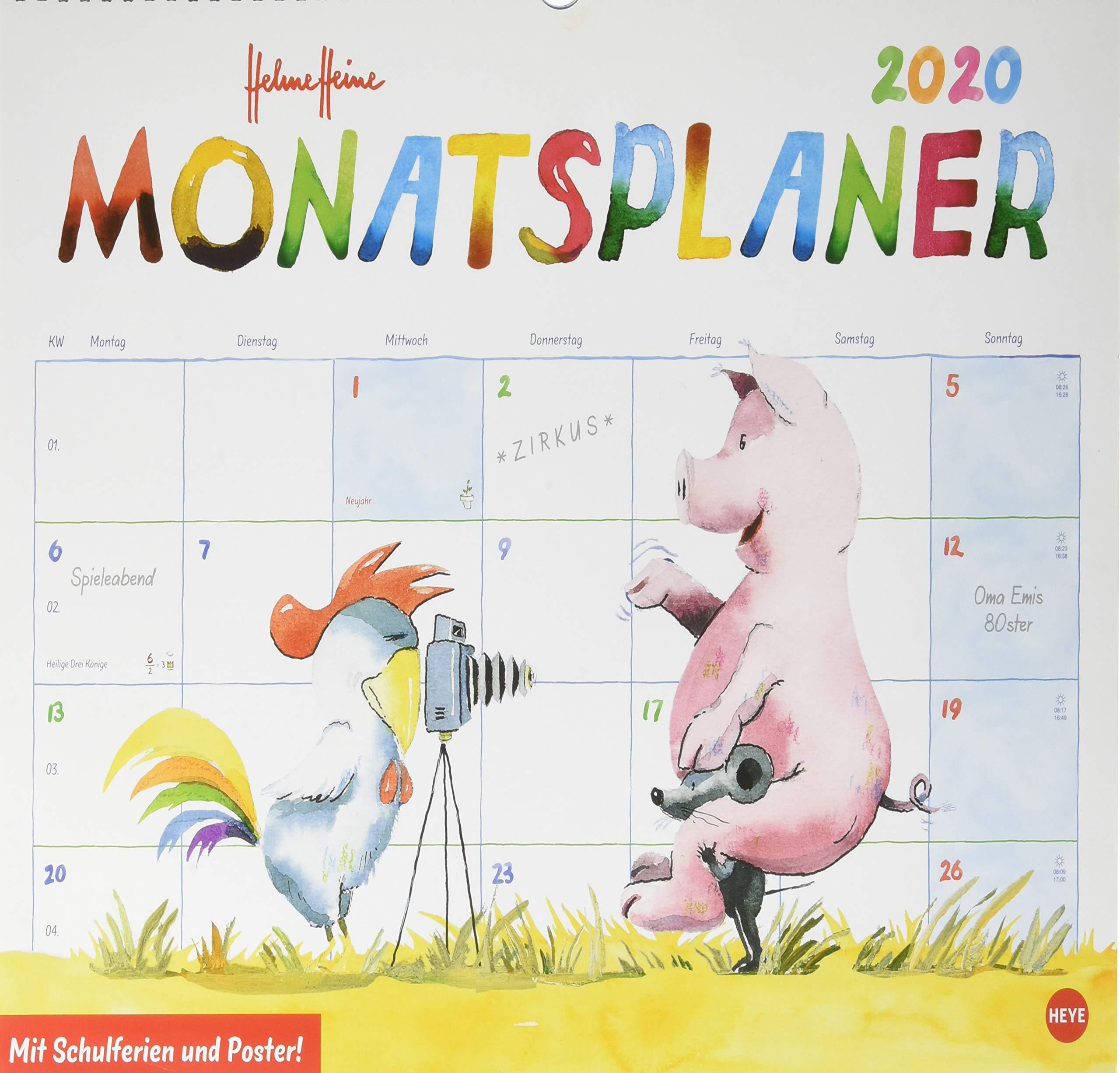 Helme Heine Monatsplaner. Wandkalender 2020. Monatskalendarium. Spiralbindung. Format 44 X 34 Cm