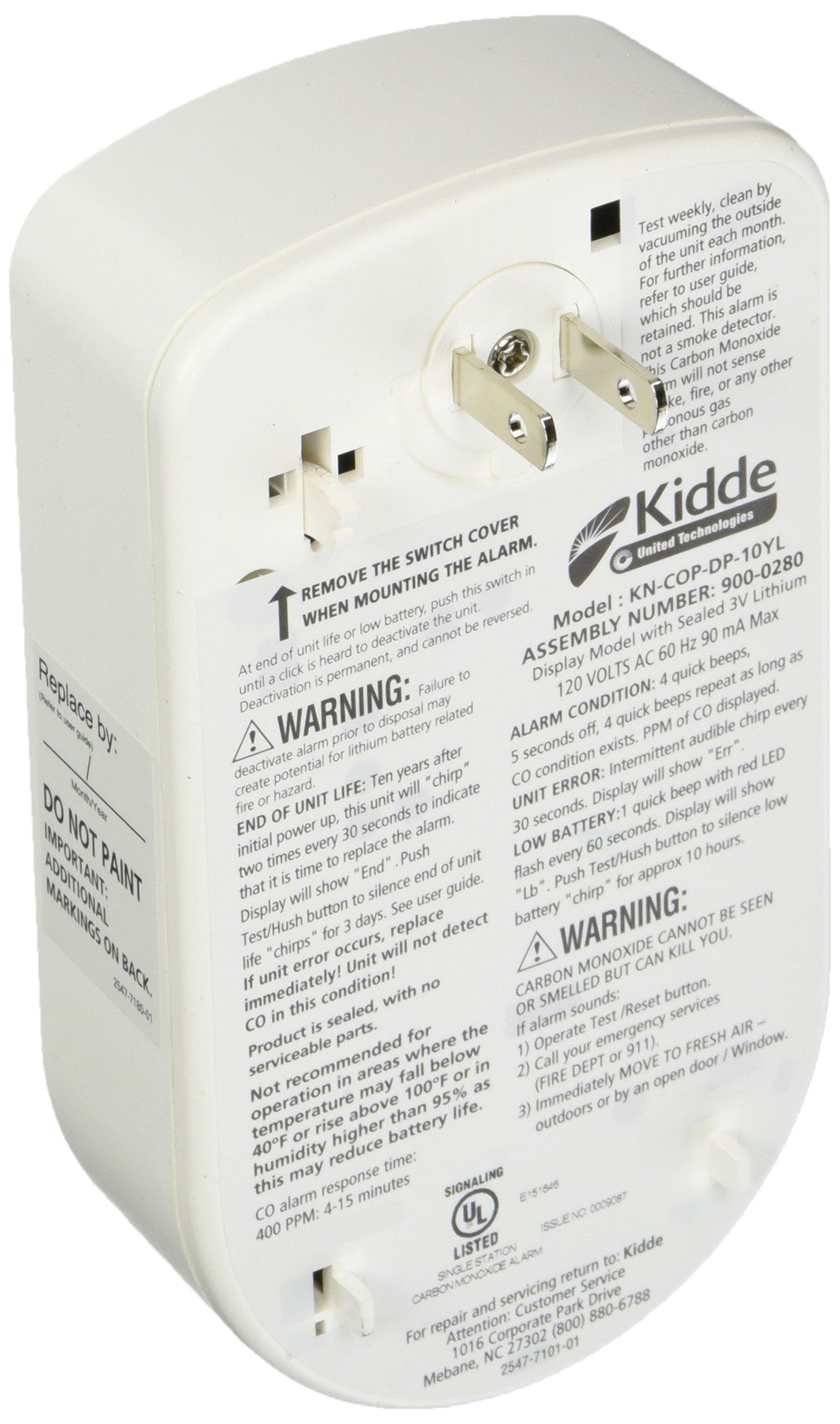 KIDDE 21026350 Plug In Carbon Monoxide Alarm with Sealed Lithium Battery Back Up by Kidde (Image #1)