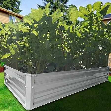 Amazon Com Zizin Galvanized Raised Garden Beds Kits Metal