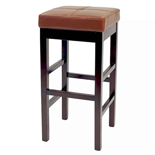 New Pacific Direct Valencia Backless Leather Counter Stool 27 ,Brown Legs,Cognac Brown