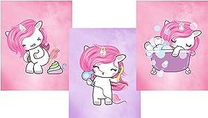 Silly Goose Gifts Magical Unicorn Bathroom Wall Art Decor (Set of Three) Poop Bathtub Blow Dryer Hair