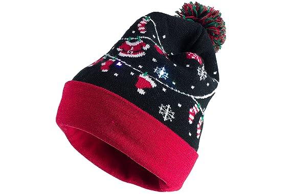 capelli light up christmas hat santa clothes led lights cuff pom pom beanie