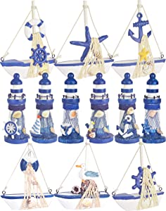 Wooden Lighthouse and Mini Sailboat Model Decoration, Set of 12 Different Design Wooden Decorative Sailboats & Light House, Handmade Nautical Lighthouse Decorations, Mini Sailing Boat Nautical Decorat