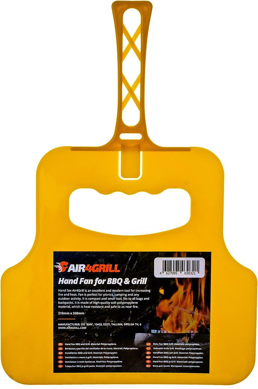 Air4Grill Grill Fan – BBQ Fan – Hand Crank Blower – Barbecue Coal Blower – Barbecue Manual Blower – BBQ Hand Fan Yellow