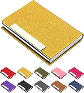 Business Card Holder, Business Card Case Luxury PU Leather & Stainless Steel Multi Card Case,Business Card Holder Wallet Credit Card ID Case/Holder for Men & Women. (Gold)