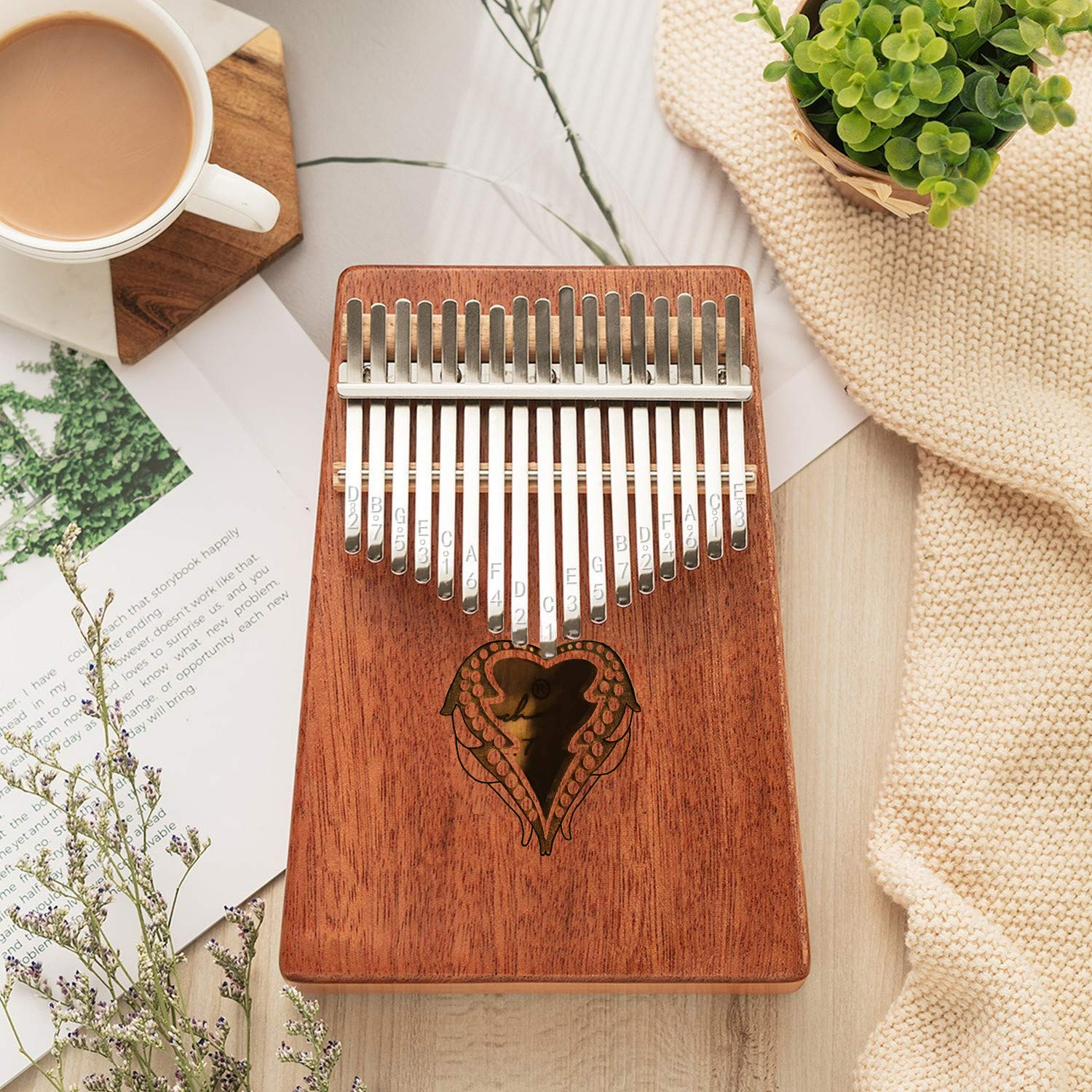 Thumb Piano Ranch Kalimba 17 keys Finger Mbira with Online 6 Free Lessons Solid Wood Mahogany Christmas Gifts with Bag/Carved Notation/Tune Hammer - Love Heart by Ranch (Image #2)