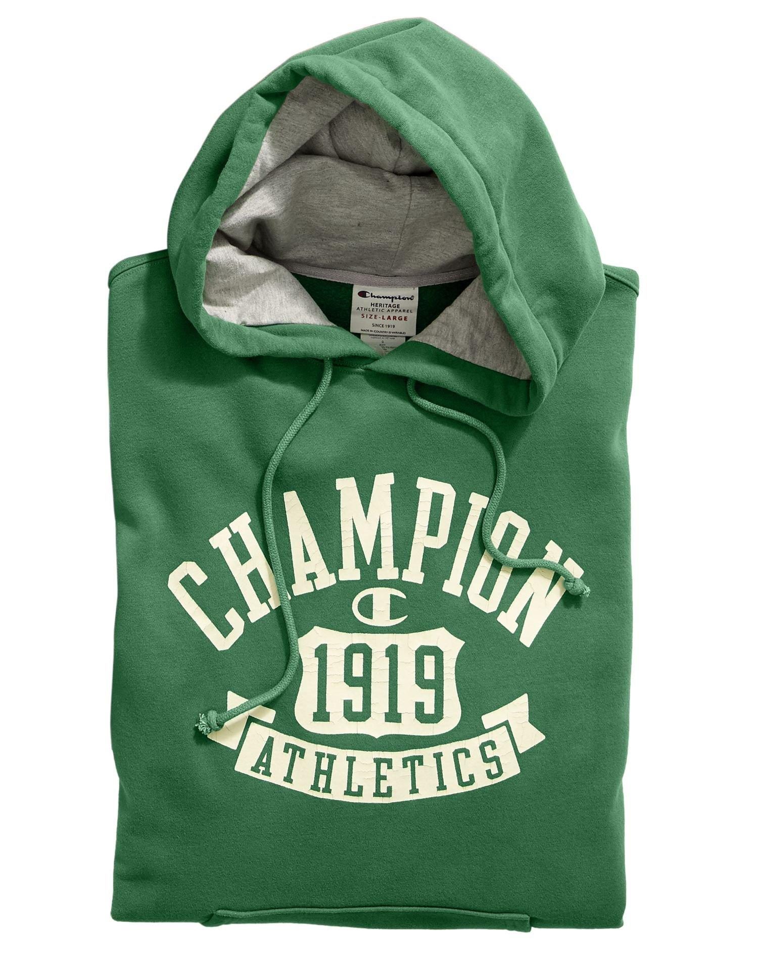 Champion Men's Heritage Fleece Pullover Hoodie, Anchor Slate/Shield Arch, Medium
